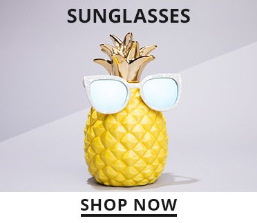 Image of a pineapple wearing sunglasses. Shop Now.