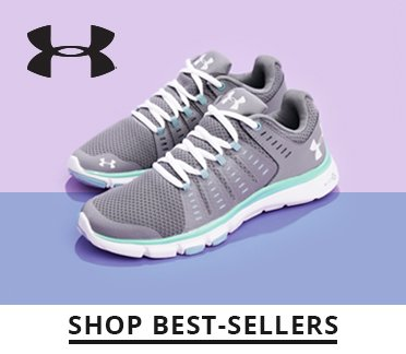 Image of  an Under Armour shoe, the UA logo. Shop Best Sellers.