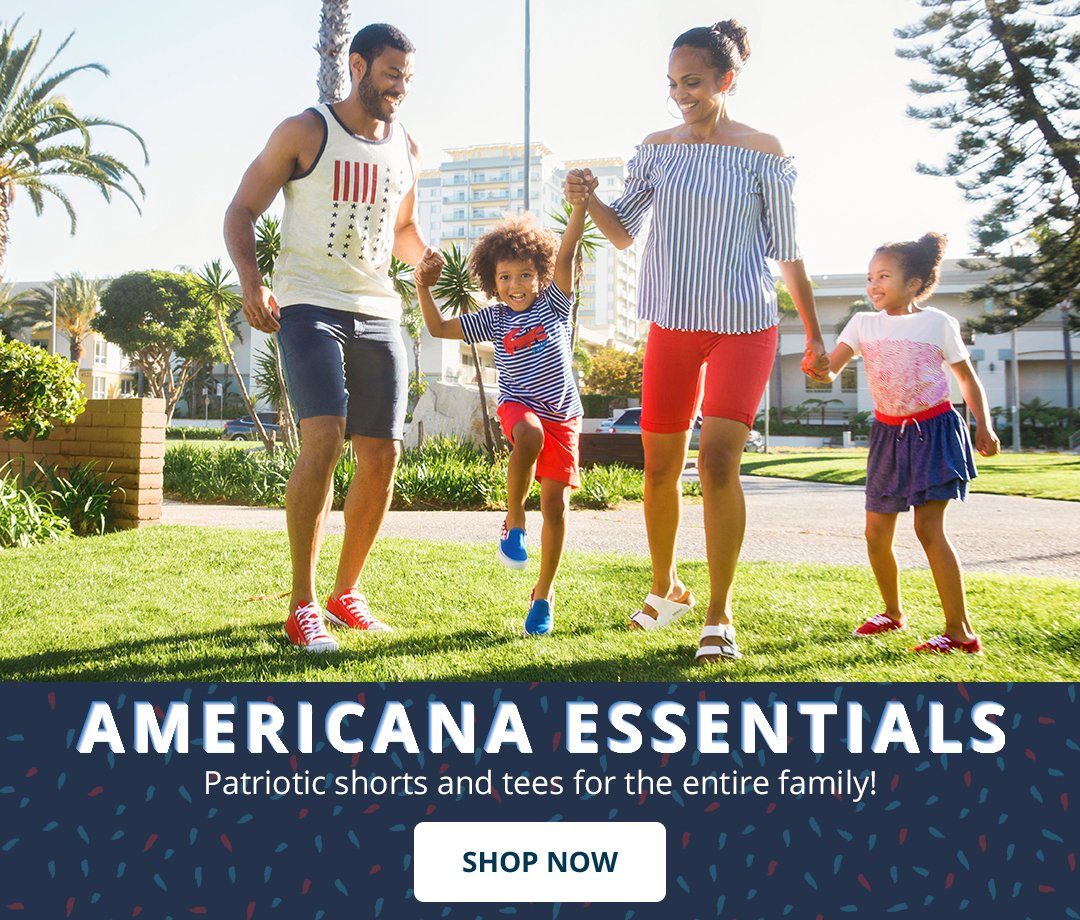 Americana Essentials. Patriotic shorts and tees for the entire family! Shop Now.