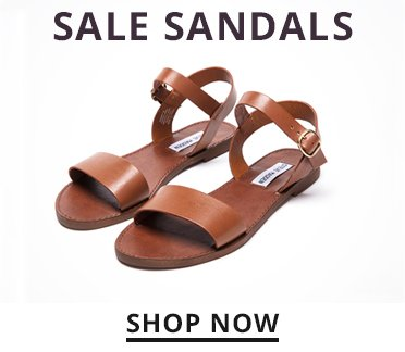 Sale Sandals. Shop Now. Image of a tan steve madden sandal.