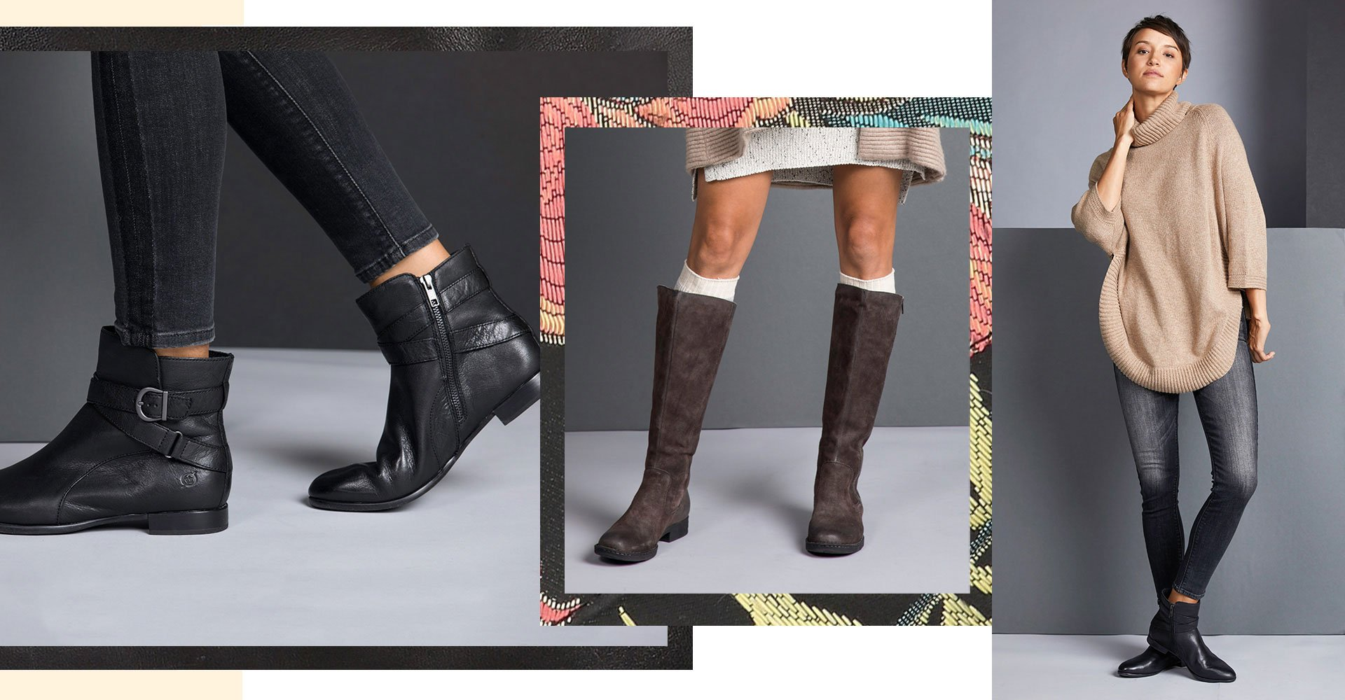 Image linking to comfort boots product results. Features editorial photography of a woman modeling a riding boot style and an ankle boot.