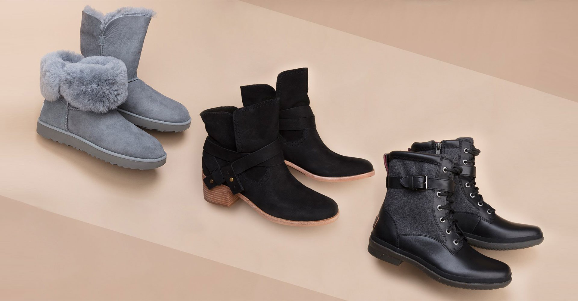 An image of three different new UGG boot styles with a rose colored background.