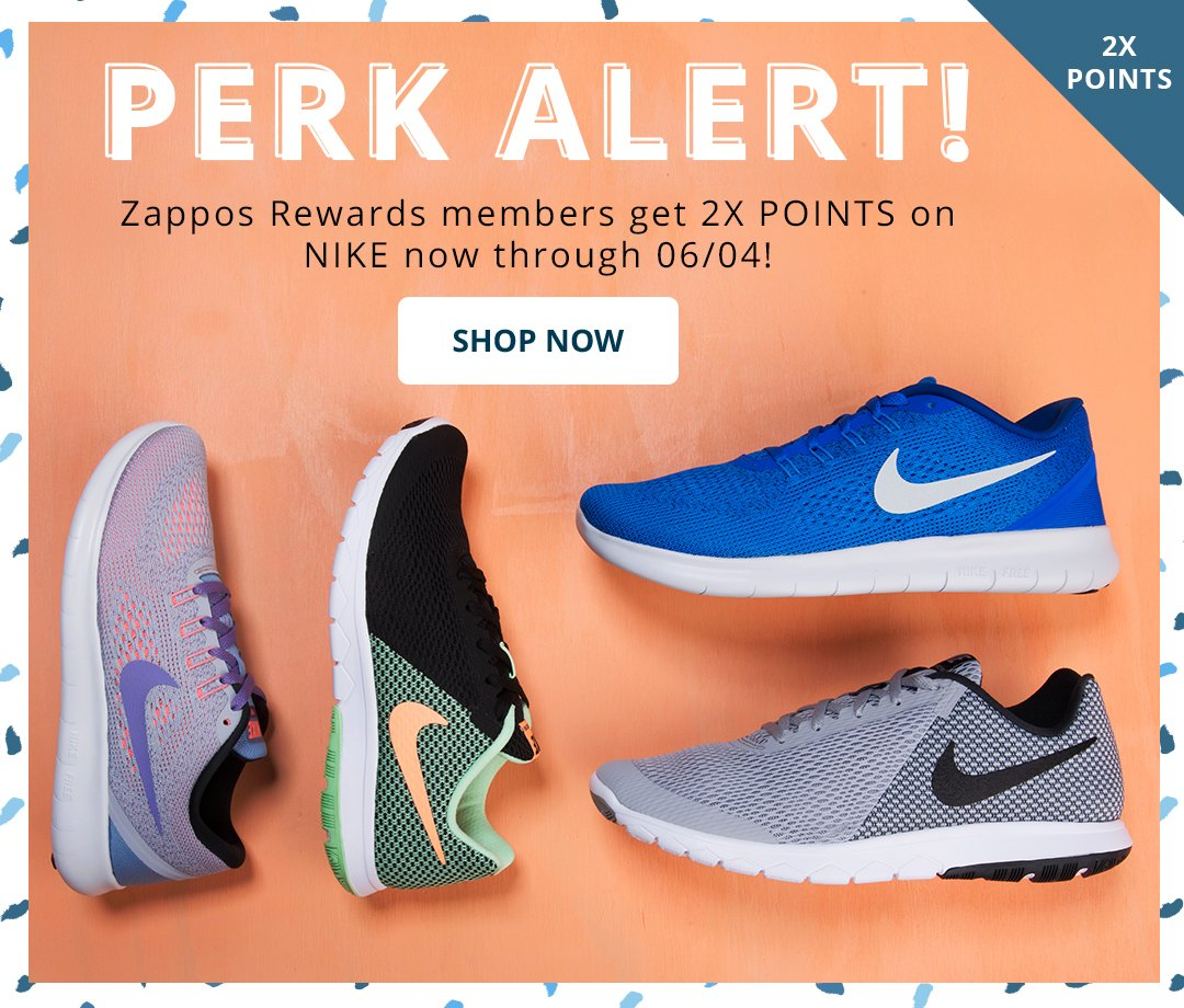 Perk Alert. Rewards members get 2x points on Nike through 6/4! Shop Now