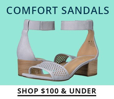 Image of gray suede sandals with an ankle strap. Shop $100 and under.