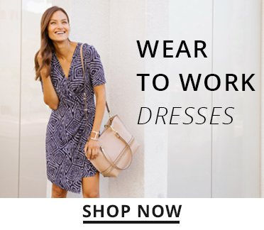 image of a woman wearing a work dress. shop now.