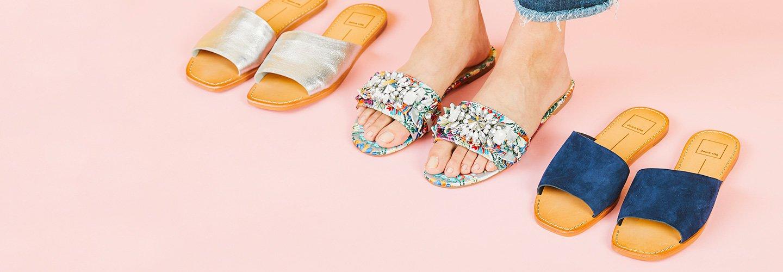image of slides. links to assortment of slide sandals.