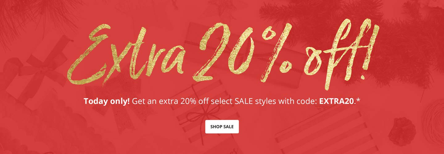 Extra 20% off! Today only! Get an extra 20% off select sale styles with coed: EXTRA20. Shop Sale.