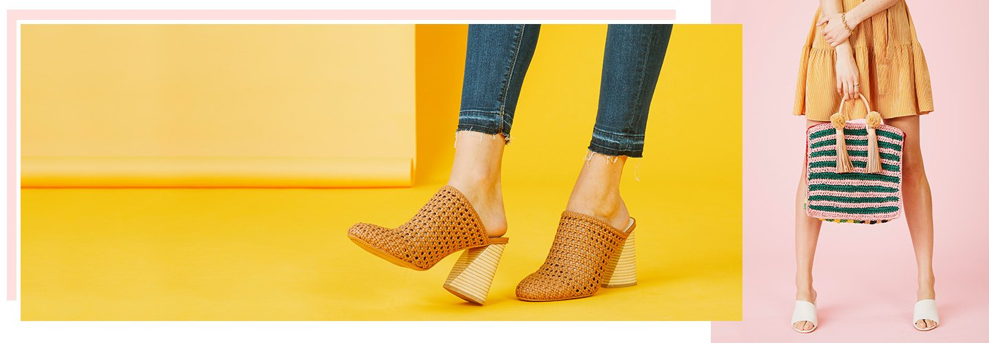 image of a woman holding a woven bag and wearing woven slip on heels. links to assortment of new styles for spring.