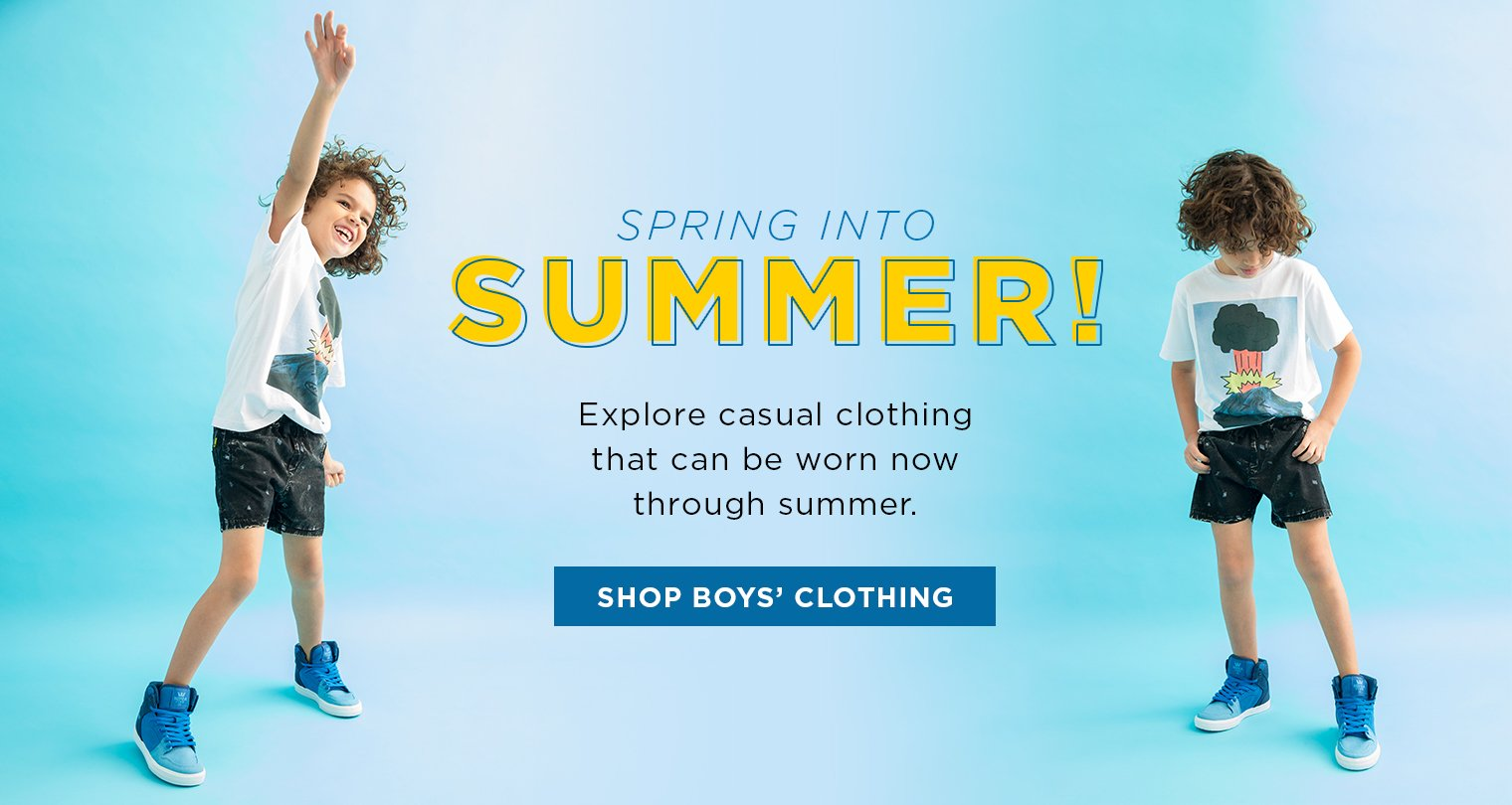 Image of Boy wearing casual summer clothing
