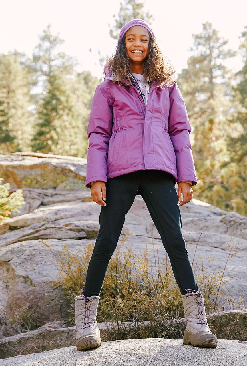 image of girl wearing the north face jacket