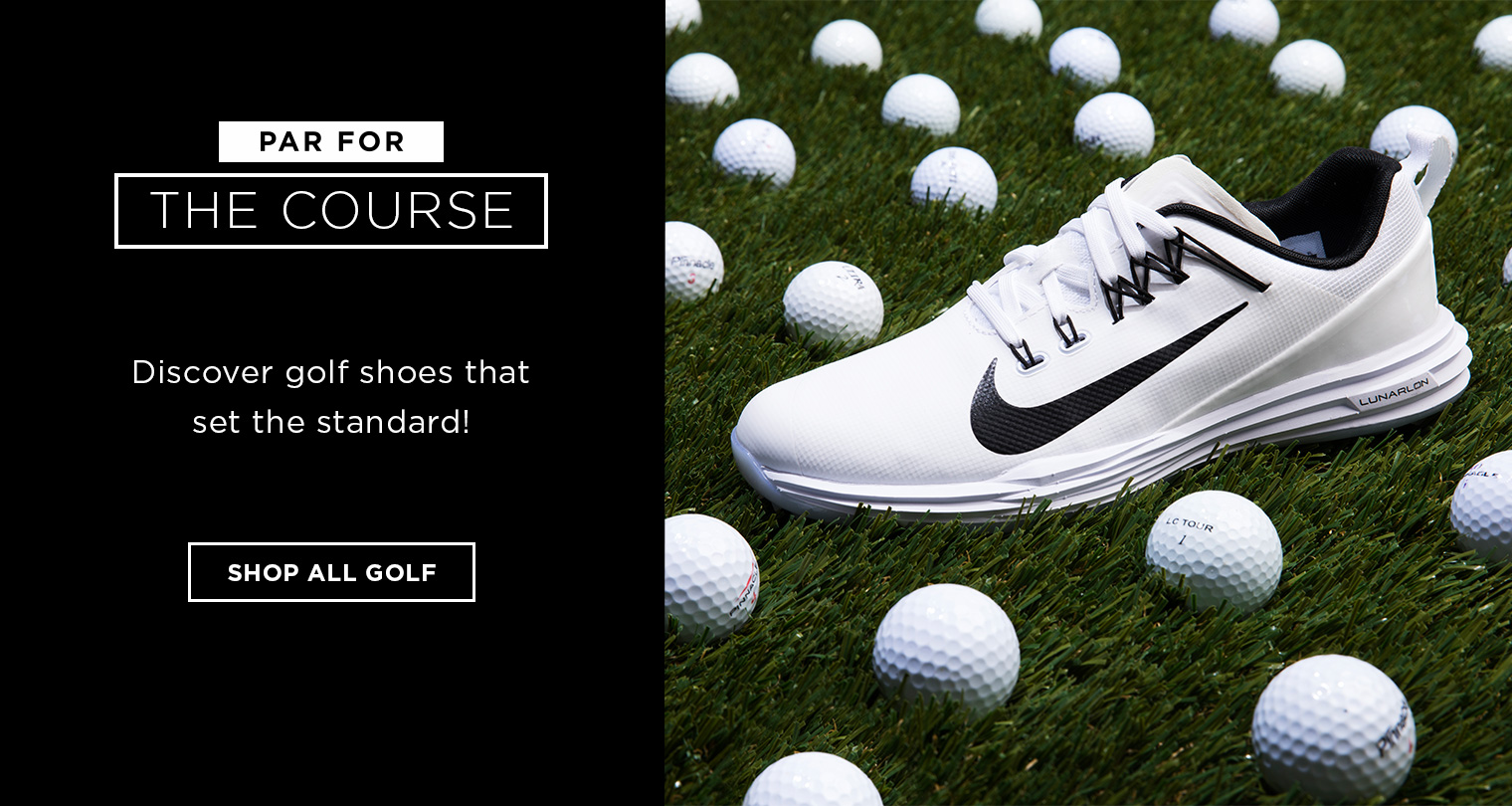 Image of Nike Golf Shoe with golf balls in the background