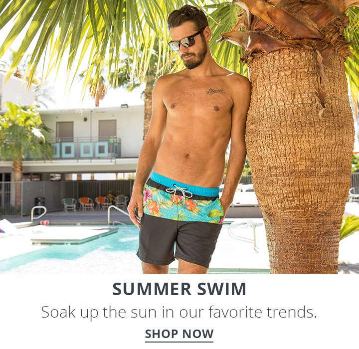 Image of a man standing by a pool wearing Tommy Bahama Swim Trunks