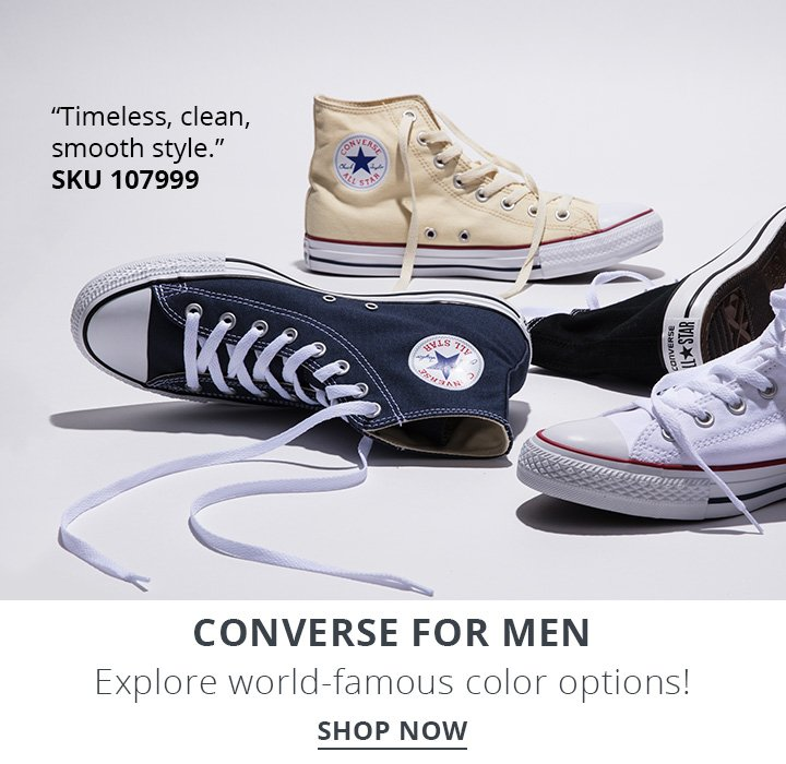 Converse for Men. Explore world famous color options. Shop Now.