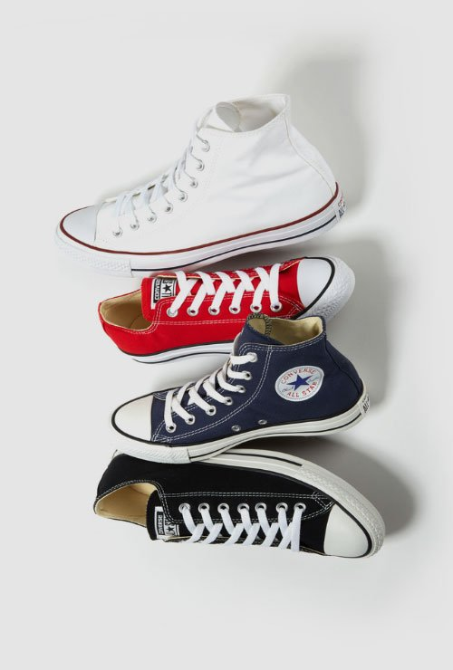 Clickable image of converse shoes that links to casual sneaker assortment.