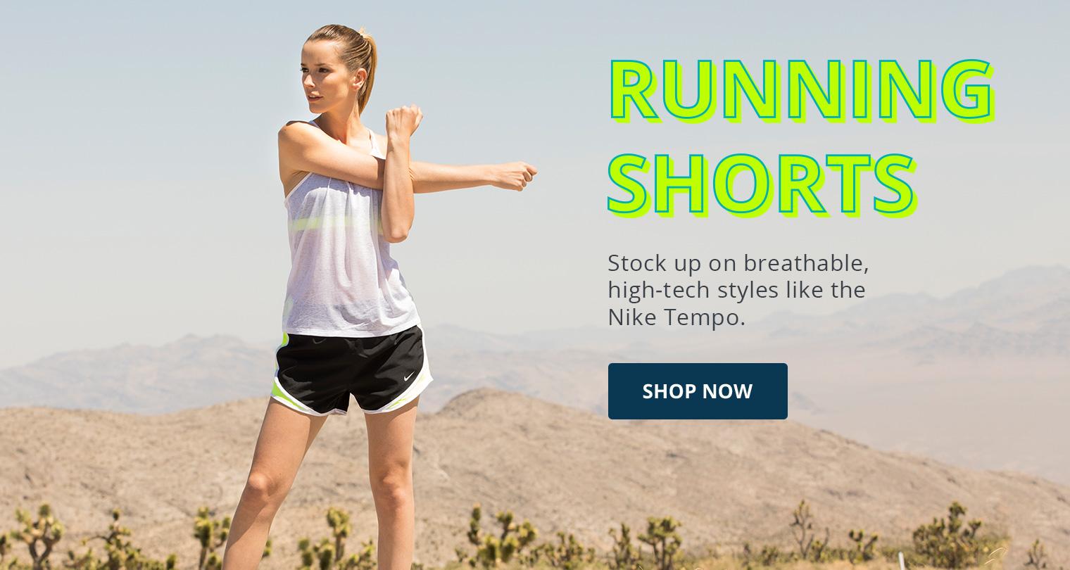 Running Shorts. Image of a woman wearing Nike running shorts
