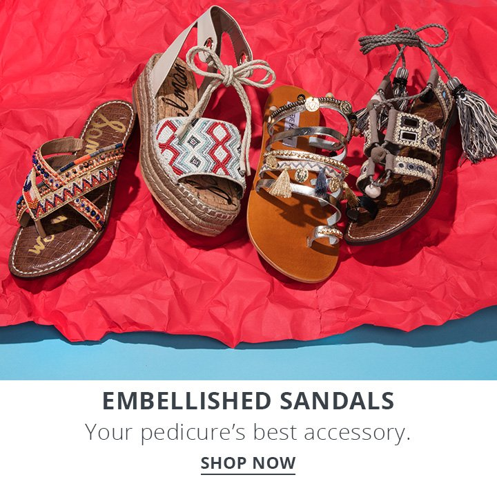 Embellished Sandals. Your pedicure's best accessory. Shop Now.