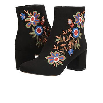 Image of a floral embroidered black bootie