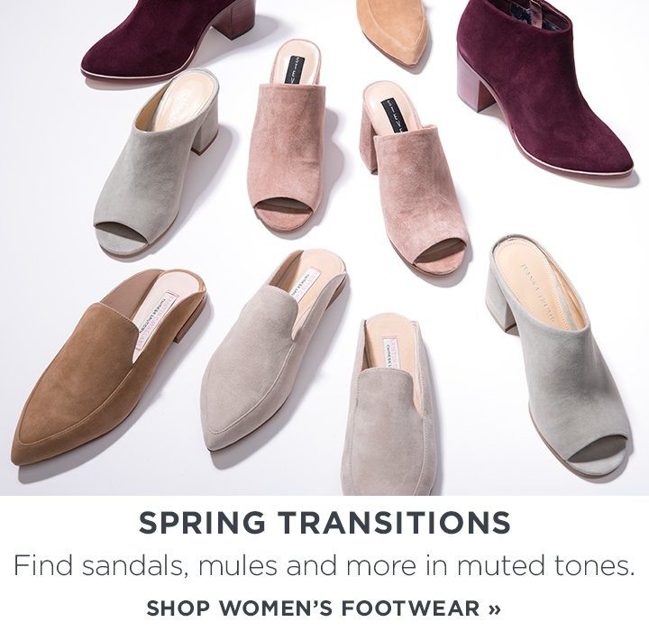 sp-2-SpringShoes-1-9-2017 Spring Transitions. Find sandals, mules and more in muted tones. Shop Now.