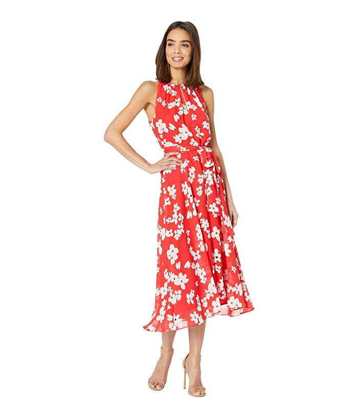 Image of red printed sundress
