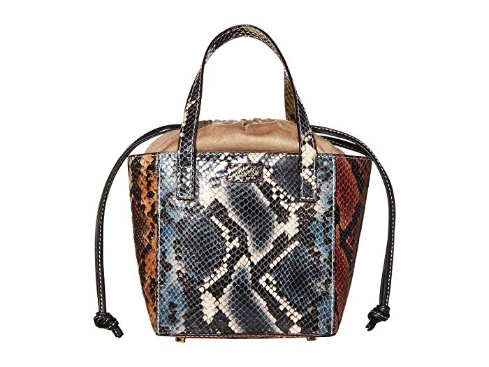 Multi-colored snaked print handbag