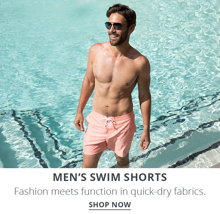 Mens Swim Shorts. Fashion Meets Function in quick-dry fabrics. Shop Now.