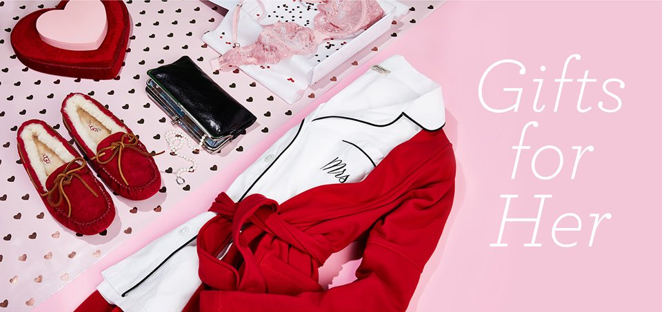 Gifts for Her. Image of an assortment of loungewear, accessories and intimates.
