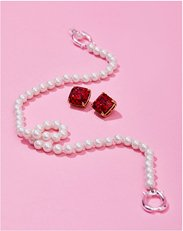 Jewelry. Image of Kate Spade garnet earrings and pearl bracelet,
