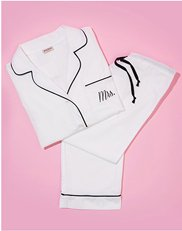 "Sleepwear. Image of womens pajamas with embroidered ""Mrs."""