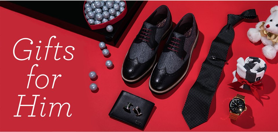 Gifts for Him. Image of an assortment of men's accessories and dress shoes