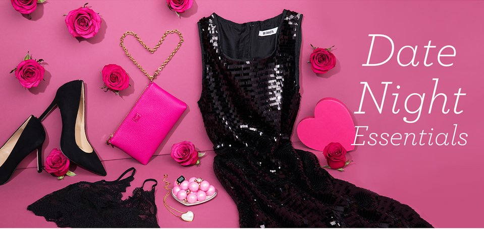 Date Night Essentials. Image of a womens little black dress, clutch, intimates and heels.