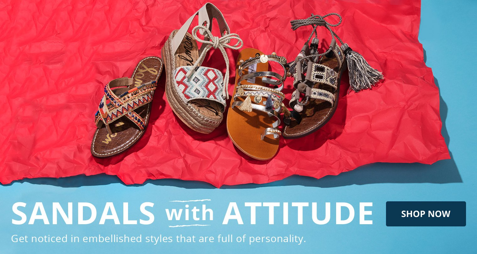 Sandals with Attitude. Shop Now, Get noticed in embellished styles that are full of personality.