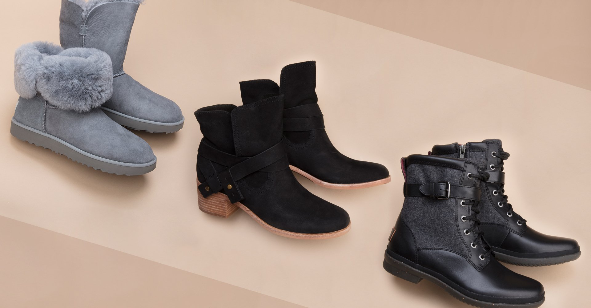 Image of three pairs of UGG boots
