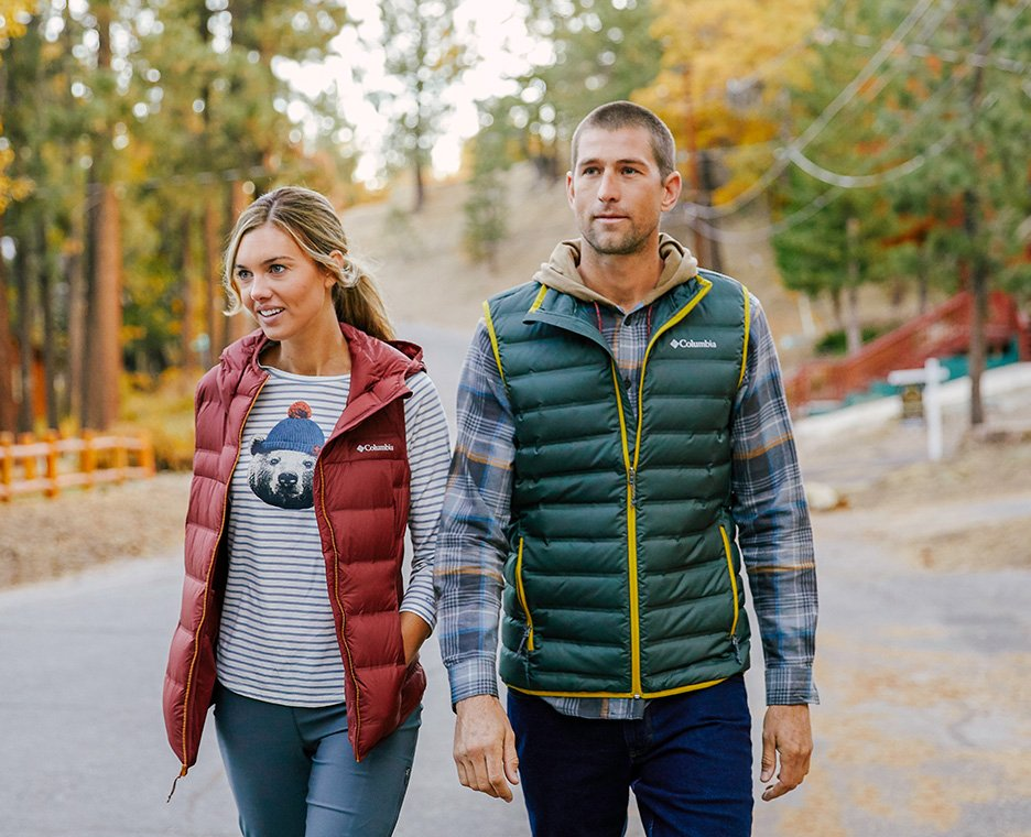Image of a man and woman wearing columbia clothing and shoes