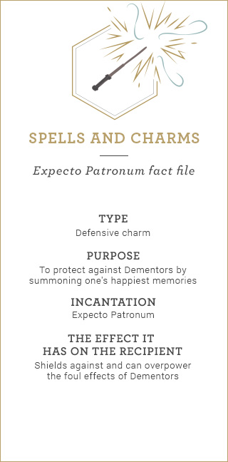 Spells and Charms: Expecto Patronum fact file. Type: Defensive charm. Purpose: To protect against Dementors by summoning one's happiest memories. Incantation: Expecto Patronum. The effect it has on the recipient: Shields against and can overpower the foul effects of Dementors.