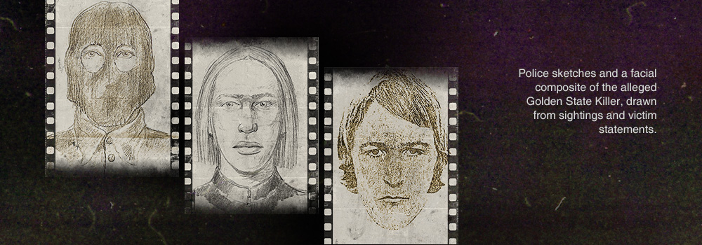 Police sketches and a facial composite of the alleged Golden State Killer, drawn from sightings and victim statements.
