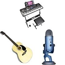 Teclados, micrófonos, guitarras y accesorios