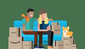 Illustrated people sitting on sofa