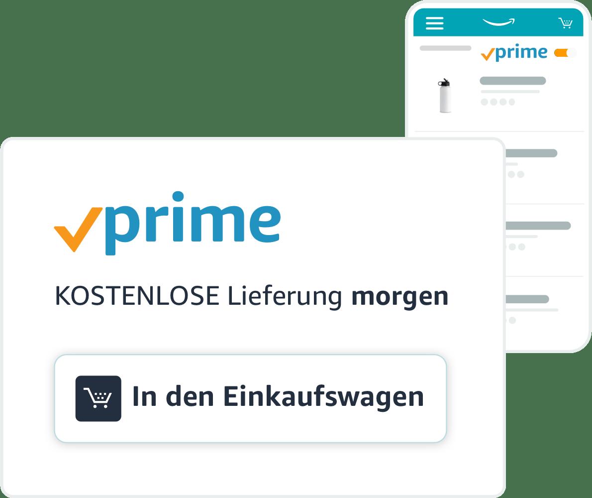 """Wasserflaschen, die über den Versand mit <i>Amazon Prime </i>erhältlich sind und ein Logo für den Versand mit <i>Prime </i>mit einer Schaltfläche """"In den Einkaufswagen"""""""