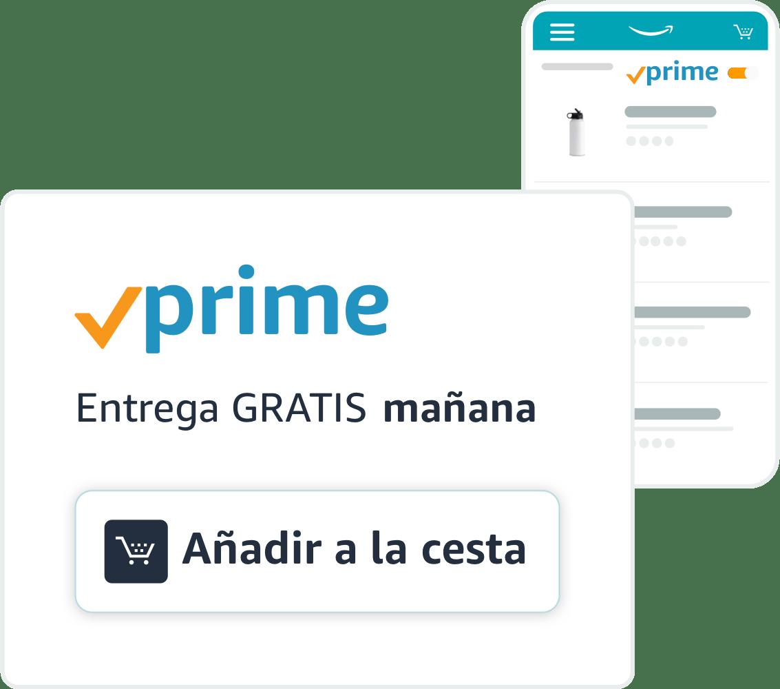 """Botellas de agua disponibles a través del envío de Amazon Prime y un distintivo de envío Prime con un botón """"Añadir al carrito""""."""