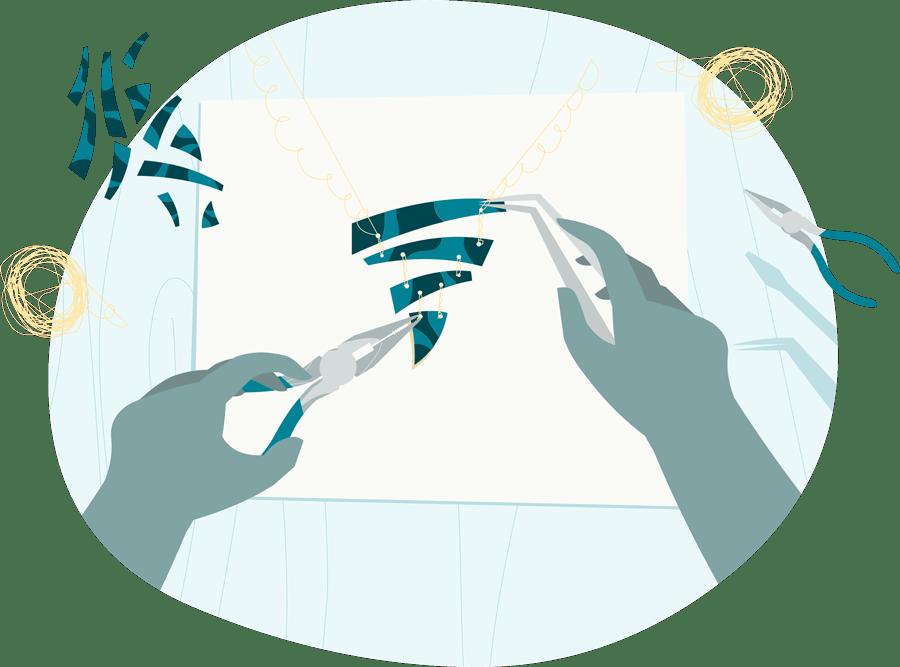 Hände schneiden und kleben, um ein schönes Produkt zu erschaffen
