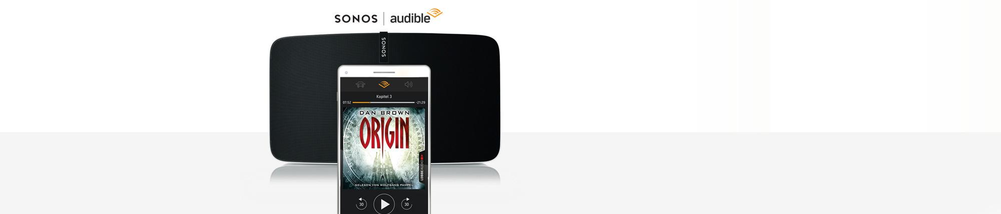 Das Bild zeigt einen Sonos-Speaker und die Audible-App