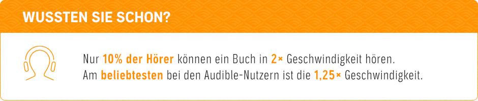 Wussten Sie schon: Die meisten Audible-Nutzer hören ein Buch in 1,25x Geschwindigkeit