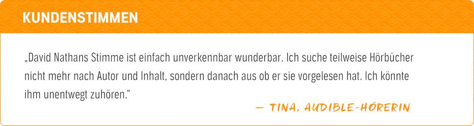 User Stories: Audible-User Tina sucht Hörbücher teilweise nicht nur nach Autor und Inhalt aus, sondern geht auch danach, wer sie vorgelesen hat