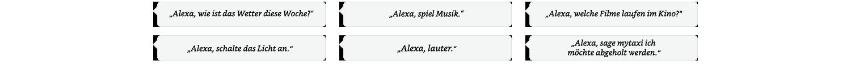 Alexa, wie ist das Wetter diese Woche? | Alexa, spiel Musik | Alexa, schalte das Licht an