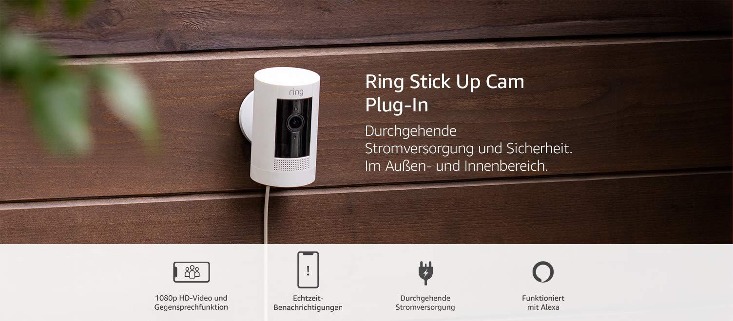 Ring Stick Up Cam Plug In Von Amazon Hd Sicherheitskamera Mit Gegensprechfunktion Funktioniert Mit Alexa Mit 30 Tägigem Testzeitraum Für Ring Protect Weiß Alle Produkte