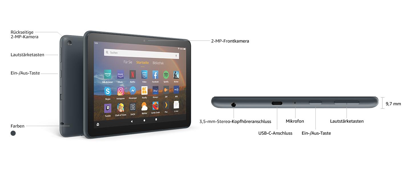 Fire Hd 8 Plus Tablet 8 Zoll Hd Display 32 Gb Schiefergrau Mit Werbung Unser Bestes 8 Zoll Tablet Für Unterhaltung Unterwegs Amazon Devices