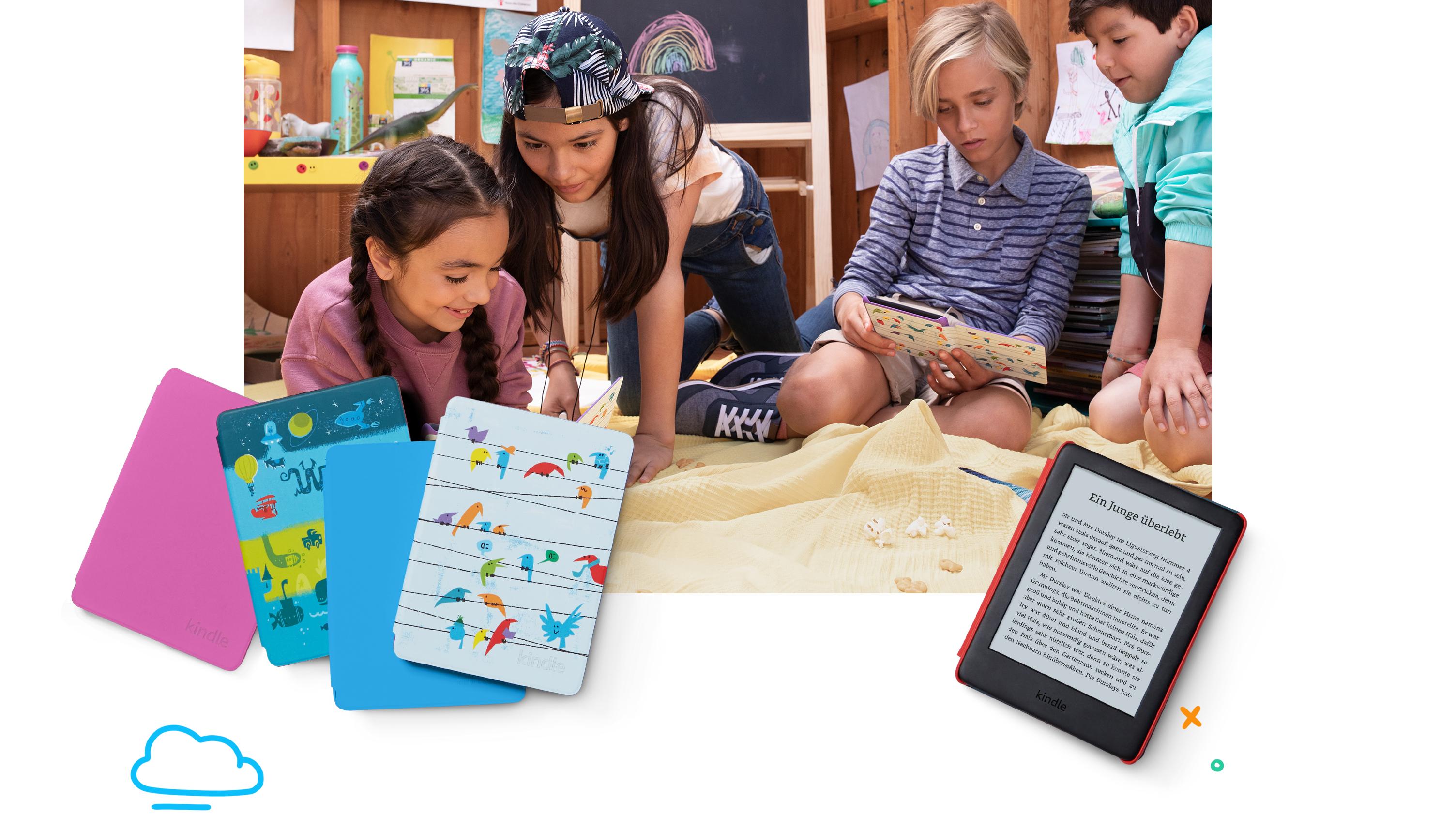Kindle Kids Edition Mit Zugriff Auf Mehr Als Tausend Bücher Blaue Hülle Amazon Devices