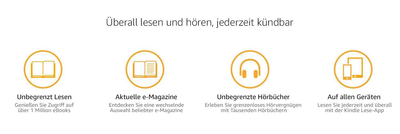 Überall lesen und hören, jederzeit kündbar. Unbegrenzt lesen: Genießen Sie Zugriff auf über 1 Million eBooks. Aktuelle e-Magazine: Entdecken Sie eine wechselnde Auswahl beliebter e-Magazine. Unbegrenzte Hörbücher: Erleben Sie grenzenloses Hörvergnügen mit tausenden Hörbüchern. Auf allen Geräten: Lesen Sie jederzeit und überall mit der Kindle Lese-App.