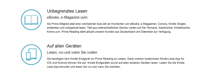 Als Prime-Mitglied jetzt eine wechselnde Auswahl an Hunderten von eBooks, e-Magazinen, Comics, Kindle Singles entdecken und unbegrenzt lsen. Titel aus unterschiedlichen Genres warten auf Sie: Romane, Sachbücher, Kinderbücher, Krimis uvm. Prime Reading steht aktuell unseren Kunden aus Deutschland und Österreich zur Verfügung.