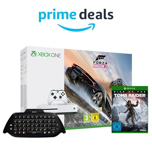 23 % reduziert: Xbox One S 500GB Konsole - Forza Horizon 3 Bundle + Xbox One Chatpad + Rise of the Tomb Raider